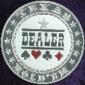 TEXAS HOLD 'EM DEALER Metal Poker Card Protector (Silver Colour)