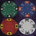 Pack of 4 rubber poker chip coasters