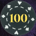 Black Card Suit chip 11.5gm Numbered 100