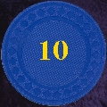Blue plastic chips 4gm Numbered 10