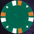 Green Double Stripe 3 Colour 14gm Poker Chips
