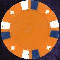 Orange Double Stripe 3 Colour 14gm Poker Chips