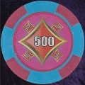 Pink and Light Blue Four Block 11.5gm Poker Chip Numbered 500