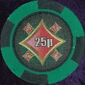 Green and Black Four Block 11.5gm Poker Chip Numbered 25p