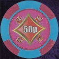 Pink and Light Blue Four Block 11.5gm Poker Chip Numbered 50p