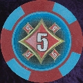Red and Light Blue Four Block 11.5gm Poker Chip Numbered 5