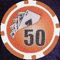 Orange Twist 11.5gm Poker Chips Numbered 50
