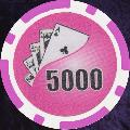 Pink Twist 11.5gm Poker Chips Numbered 5000