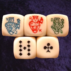 Pack of 5 Poker Dice with Rounded Edges Photo
