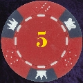 Red Crown and Dice 3 colour 14gm Poker Chips numbered 5 (LAST 75)