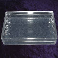 A clear plastic playing card box with lid for 62mm wide poker cards