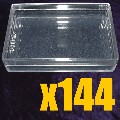 A clear plastic card box with lid for narrow 57mm sized cards CARTON OF 144