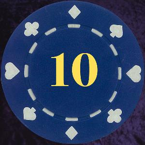Dark Blue Card Suit chip 11.5gm Numbered 10