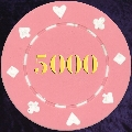Pink Card Suit chip 11.5gm Numbered 5000