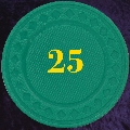 Green plastic chips 4gm numbered 25