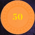 Light Orange plastic chips 4gm numbered 50