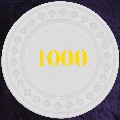 White Plastic chips 4gm Numbered 1000