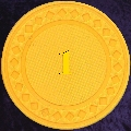 Yellow plastic chips 4gm numbered 1