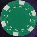 Green six tab dice design heavy chip 11.5gm