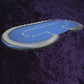Kidney Shaped Poker Table Top 2.5 x 1.25m (8 x 4') Dark Blue Baize with Metal Folding Legs