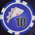 Blue Twist 11.5gm Poker Chips Numbered 10