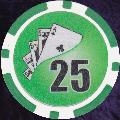 Green Twist 11.5gm Poker Chips Numbered 25
