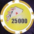 Yellow Twist 11.5gm Poker Chips Numbered 25 000